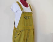 Gold 16W XL Denim Bib OVERALL Shorts - Yellow Dyed Upcycled Cherokee Shortalls - Adult Womens Size Extra Large (40 Waist)