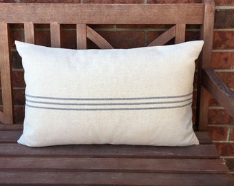 Grain Sack Lumbar Pillow Cover 3 Blue Stripes