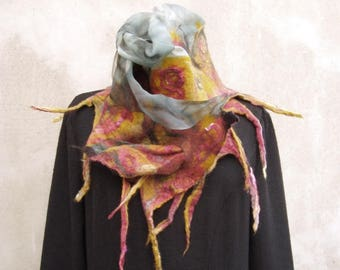 Grey Mustard felt luxury feminine boho silk scarf gift for women