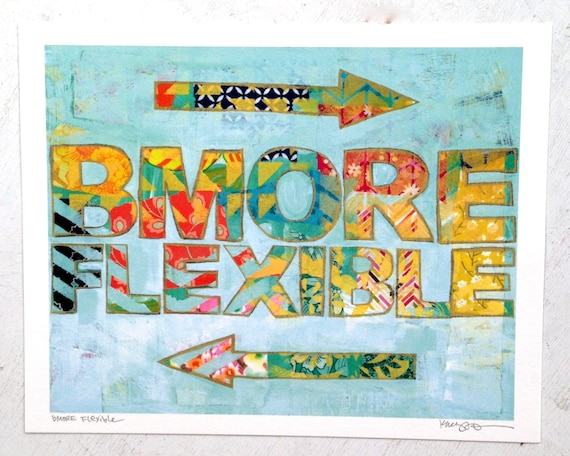 Bmore Flexible Handlettered Mixed Media Art Print Baltimore Maryland Gifts For Yogi Gifts for Her