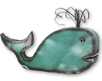 Whale Wall Art Sculpture Nautical Decor