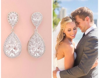 Wedding Crystal Earrings Bridal Jewelry Silver Cubic Zirconia Large Teardrop Bridal Earrings Wedding Jewelry Crystal Drop Earrings, Evelyn