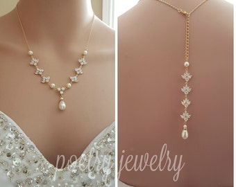 Gold Backdrop Necklace Crystal Back Necklace Pearl Gold Wedding Necklace Cubic Zirconia Back Bridal Necklace, Rosa
