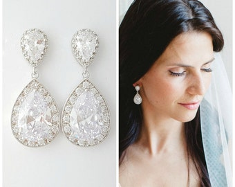 Wedding Earrings, Crystal Bridal Earrings, Bridesmaid Earrings, CZ Drop Earrings, Teardrop Earrings, Wedding Jewelry, Evelyn