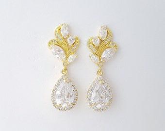 Gold Bridal Earrings Wedding Jewelry Gold Crystal Earrings Wedding Gold Earrings Bridal Jewelry Cubic Zirconia Wedding Jewelry Wavy