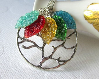 Family Tree Necklace Gemstone Leaves Necklace Gift for Grandma Personalized Mothers Day Jewelry for Mom Ruby Aqua Stained Glass Leaf