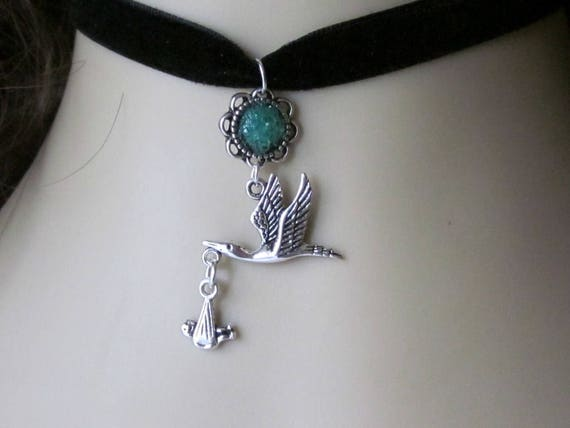 Stork with Baby Choker Necklace