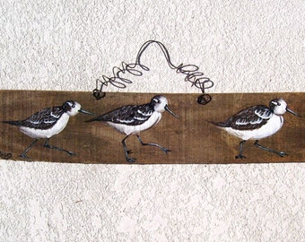 Sandpipers Hand Painted on Reclaimed Fence Board  Wood Plaque 17 1/2 inches long!