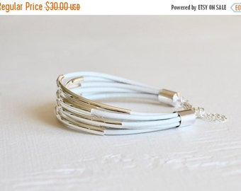Holiday Sale - 25% off White Leather Cuff Bracelet with Silver Tube Beads - Minamalist Design Multi Strand Bangle Women's Bracelet ... by  B