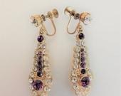 ON SALE Pretty Vintage 1940's Amethyst Clear Rhinestone Dangle Earrings