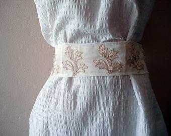 Gold Bridal Sash Belt, Gold Leaf embroidery lace belt, Champagne bridal belt