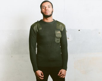 Green Mens Sweater . Vintage 80s Hunter Sweater MILITARY Army Ribbed Knit 1980s Winter Pullover Boyfriend Gift . size Small