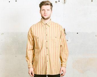 Vintage STRIPED Shirt . Men's 90s Patterned Button Down Normcore Oversized Shirt 1990s  . size XL