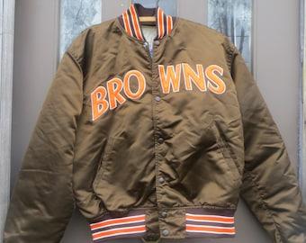 1980s   CLEVELAND BROWNS NFL football   starter  Pro line   satin jacket size large unisex
