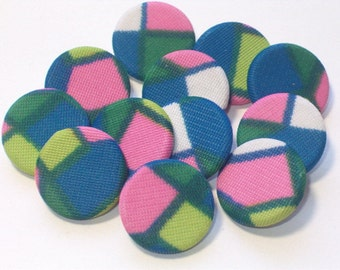 Vintage Fabric Buttons 20mm Matching Set 12 Sewing Craft Buttons 1970's