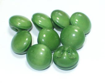 Vintage Green Glass Buttons Bead Style Set 8mm Bead Buttons Set 9
