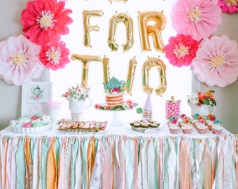 Ribbon Garland, Fabric Garland, Ribbon Banner, Wedding Garland, Ribbon Backdrop, Rag Garland, Lace Garland, Mint and Pink Baby Shower