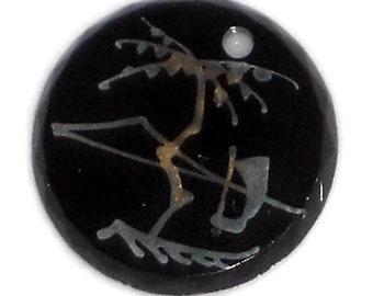 Bonsai,Antique Asian Pendant,jet black pendant,Silver Inlay pendant,Etched Jet Bonsai Oriental Onyx Anhanger NOS #1483