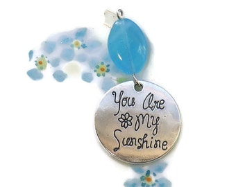 You Are My Sunshine,Love Pendant, Charm Pendant Bead Sapphire flower Czech Valentines Day Finding Jewelry Love Wife Daughter Friend #1674SS