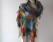 Felted scarf, colorful Wool felt scarf fringe scarf rainbow felted scarf grey Wool scarf geometric felted scarf long wool scarf by Galafilc
