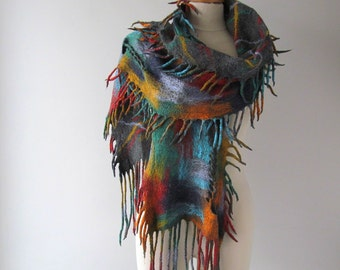 Felted scarf, colorful Wool felt scarf fringe scarf rainbow felted scarf grey Wool scarf geometric felted scarf long wool scarf by Galafilc