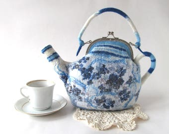 Felted  teapot  purse , Blue white flower, Blue teapot , Felt purse , Cosmetic bag , Felt teapot , original purse