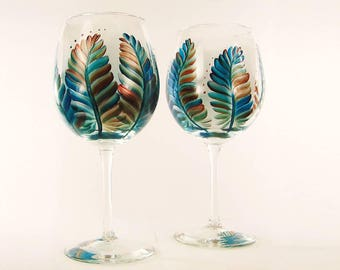 Hand Painted Southwestern Wine Glasses - Turquoise and Metallic Feathers Set of 4 - Large Red Wine Glass Gift idea