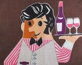 Vintage Linen Tea Towel Waiter Novelty Graphic
