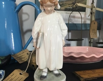 Vintage Royal Copenhagen Porcelain Girl with Book Figurine - Signed and Numbered