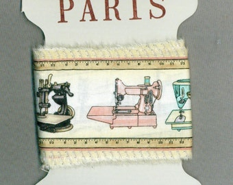 vintage sewing machine ribbon, sewing theme, hand made theme hand made , frayed fabric,gift wrap, trim card making 1349 52