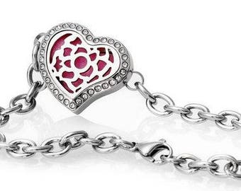Stainless Steel Diffuser Heart Locket Bracelet with CZ's