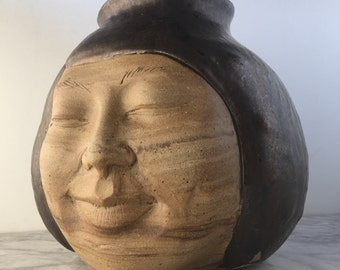 Large Face Vase Sculpture Head Ikebana Vessel Meditation with Drips, Marbled Agateware Wax Resist Dancer