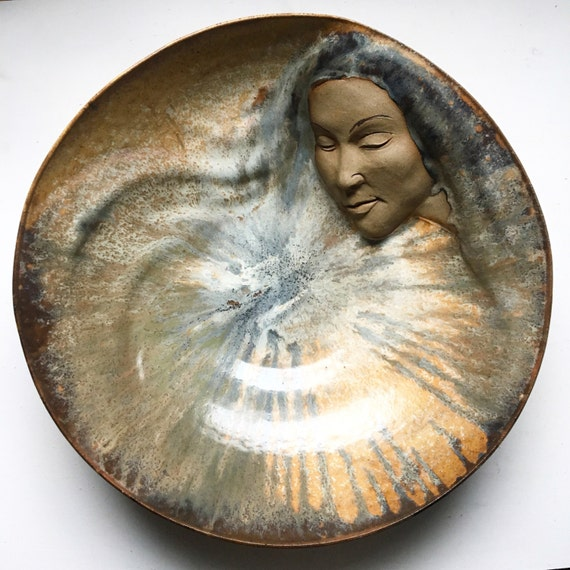 Ceramic Bowl, Large Serving Bowl with Womans Face Relief Sculpture, Goddess Art Wall Piece, Centerpiece