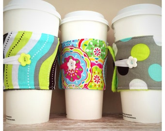 Coffee Cup Cozy, Coffee Cup Sleeve, Cup Cozy, Cup Sleeve, Reusable Coffee Sleeve - Lime Green / Dots [23-25]