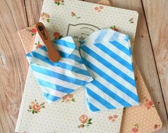 Aqua Blue Diagonal Stripe Itty Bitty Bags small paper bags