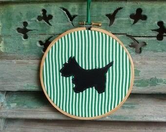 Terrier Silhouette, Green Pin Stripes, Applique Wall Decor, Original Handmade Hoop Art
