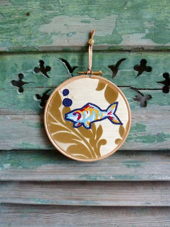 One Fish in a Gold Fish Bowl, Brocade Applique Wall Decor, Original Concept & Design © leslieworks Hoop Art