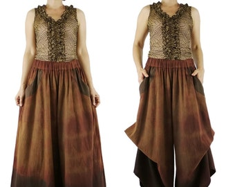 Funky Dip Dye Dark Brown Hem Stonewashed Rustic Brown Cotton Super Wide Legs Bell Bottom Pants With 2 Pockets And Elastic Waist - SM683C