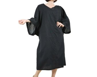 Boho Casual Elegant Plus Size /4 Sleeve Drop Shoulder V Neck Azo Free Color Black Light Cotton Dress With Lining - SM688