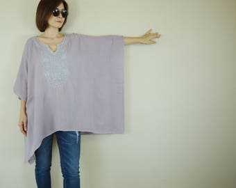 Oversize Pale Thistle Double Gauze Cotton Dolman Poncho Women Top Blouse With Gray Hand Embroidered Detail