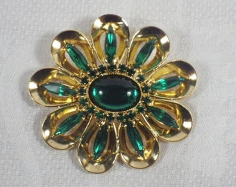 Vintage Gold Tone and Green Flower Brooch