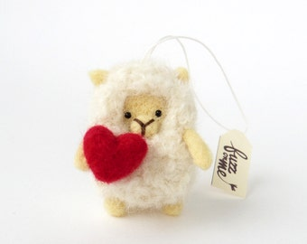 Sheep ornament, miniature needle felted lamb with a felted red heart, Valentine's gift, wool animal figurine