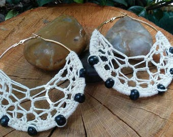 Crochet Hoops | The Natural Collection with Black Wood Beads | Thread Earrings | Boho Earrings