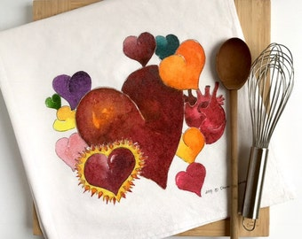 Hearts Tea Towel, Flour Sack Dish Towel
