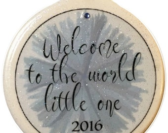 Blue Welcome to the World Little One Porcelain 1st Christmas Ornament Boy