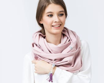 Infinity Scarf, cotton infinity scarf, LIGHT PINK jersey infinity scarf, oversized scarf, cozy chunky scarf, gift for her, gift ideas