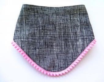 Pom Trim Bib - Tribal Style Bib - Bibdana - Bandana Style Drool Bib - Baby Girl Gift - Boho Style - Boho Baby - Modern Black and White