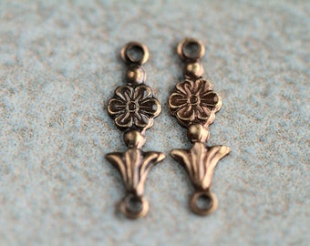 1 to 1 small brass flower connectors, aged brass components,17x5mm, Antique plated brass links (1 pair)