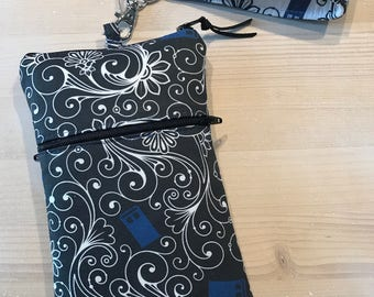 Tardis Phone Case with Wristlet and / or Optional Cross Body Shoulder Strap in Black and Royal Blue - Made to Order