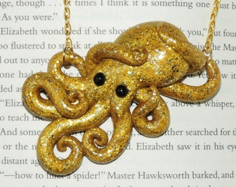 Clearance super chunky glitter gold fun time octopus necklace. glittering gold. shimmer and shine.